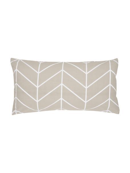 Baumwoll-Kissenbezüge Mirja mit grafischem Muster, 2 Stück, Webart: Renforcé Fadendichte 144 , Beige, Weiß, 40 x 80 cm