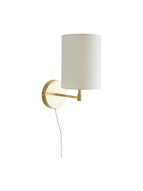 Apliques Seth, 2uds., estilo clásico, con enchufe, Pantalla: tela, Estructura: metal latón, Cable: plástico, Blanco, latón, Ø 15 x Al 32 cm