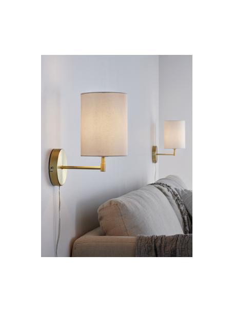 Klassische Wandleuchten Seth mit Stecker, 2 Stück, Lampenschirm: Textil, Weiß, Messingfarben, Ø 15 x H 32 cm