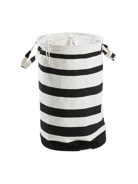 Kosz na pranie Amore, Włókna syntetyczne, Biały, czarny, Ø 35 x W 55 cm