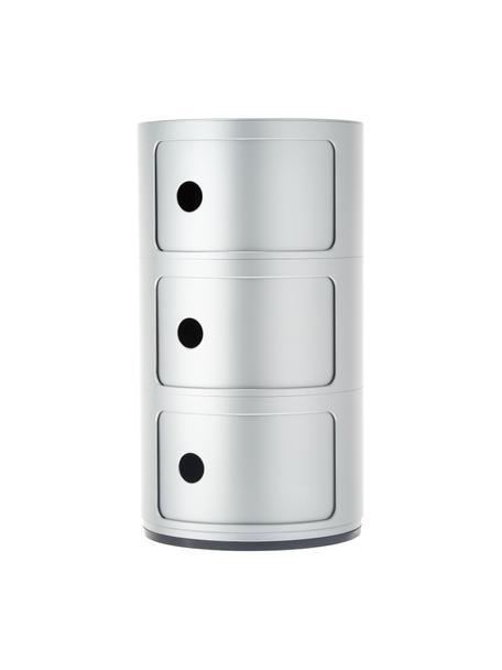 Design bijzettafel Componibile, 3 vakken, Kunststof, Zilverkleurig, Ø 32 x H 59 cm