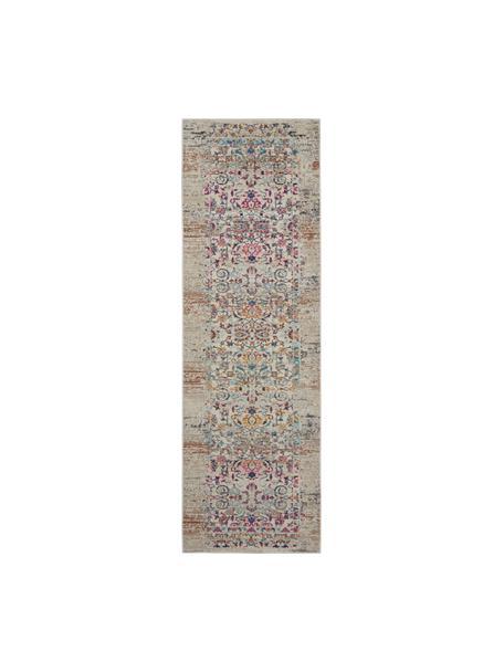 Passatoia a pelo corto con ornamenti colorati Kashan, Retro: lattice, Beige, multicolore, Larg. 70 x Lung. 245 cm