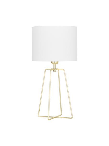 Tischlampe Karolina, Lampenschirm: Baumwolle, Lampenfuß: Metall, vermessingt, Weiß, Gold, Ø 25 x H 49 cm