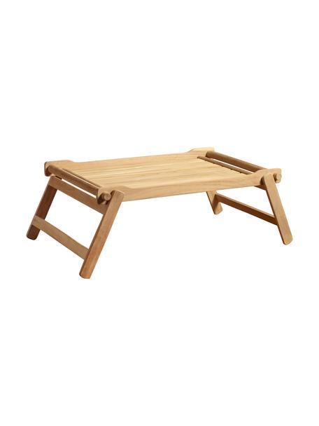 Inklapbaar houten dienblad Bed, L 58 x B 36 cm, Gepolijst teakhout, Teakkleurig, 36 x 58 cm