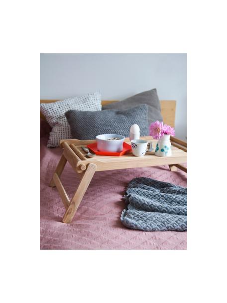 Składana taca do serwowania z drewna Bed, Drewno tekowe piaskowane, Drewno tekowe, D 58 x S 36 cm