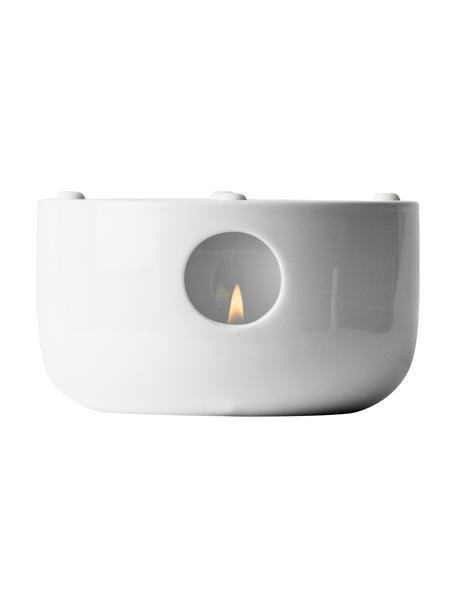 Stövchen Kettle aus Porzellan, Porzellan, Silikon, Transparent,Weiß, Ø 14 x H 7 cm