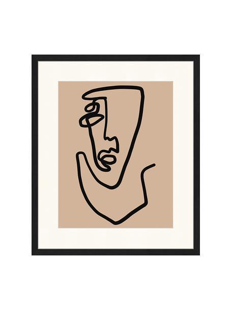 Oprawiony druk cyfrowy Abstract Face, Czarny, ciemny beżowy, S 53 x W 63 cm