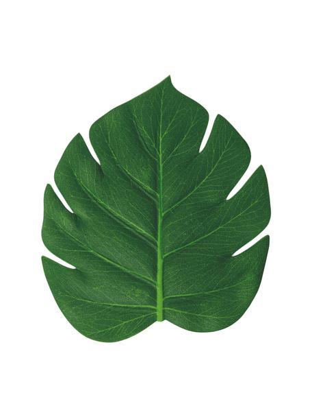 Kunststof-onderzetter Jungle in bladvorm, 6 stuks, Kunststof, Groen, 12 x 14 cm