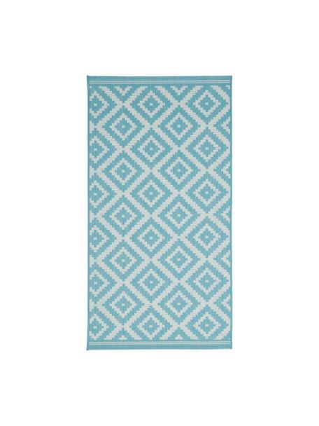 In- & outdoor vloerkleed met patroon Miami in turquoise/wit, 86% polypropyleen, 14% polyester, Wit, turquoise, B 80 x L 150 cm (maat XS)