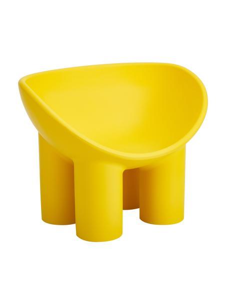 Poltrona di design gialla Roly Poly, Polietilene, prodotto in un processo di stampaggio rotazionale, Giallo ocra, Larg. 84 x Prof. 57 cm