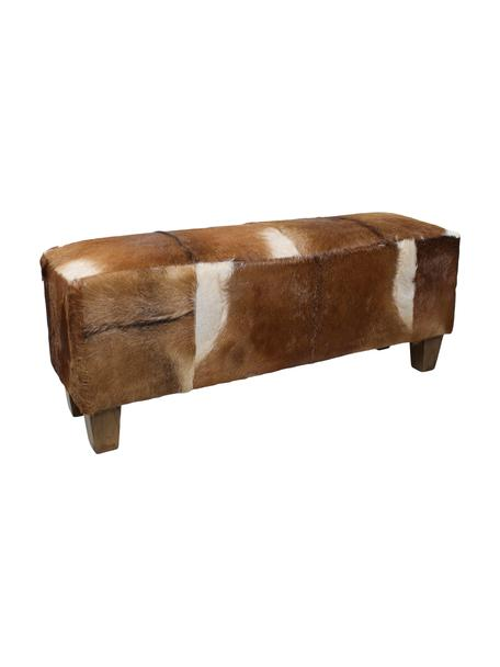 Zitbank Bangku met geitenhuid, Bekleding: geitenvacht, Poten: teakhout, Bekleding: geitenvacht, bruin en wit. Poten: teakhoutkleurig, 110 x 40 cm