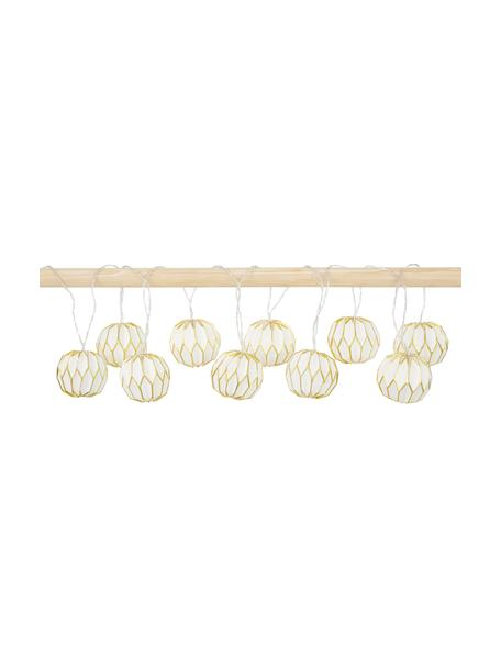 LED-Lichterkette Origami, 275 cm, 10 Lampions, Lampions: Papier, Weiß, Goldfarben, L 275 cm