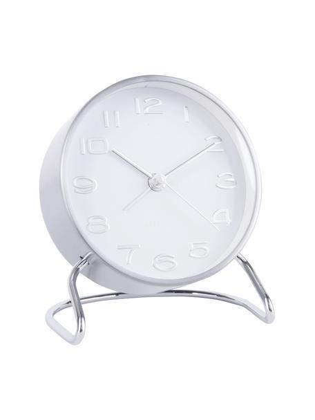 Despertador Classical, Metal recubierto, Cromo, blanco, Ø 10 cm
