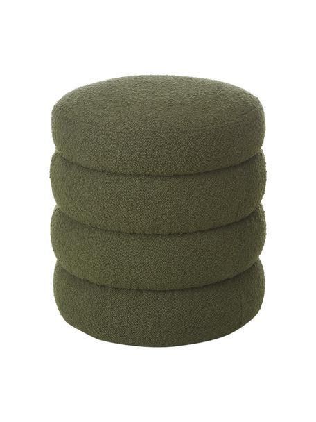 Bouclé poef Alto in groen, Bekleding: bouclé (100% polyester), Frame: massief grenenhout, multi, Bouclé groen, Ø 42  x H 47 cm