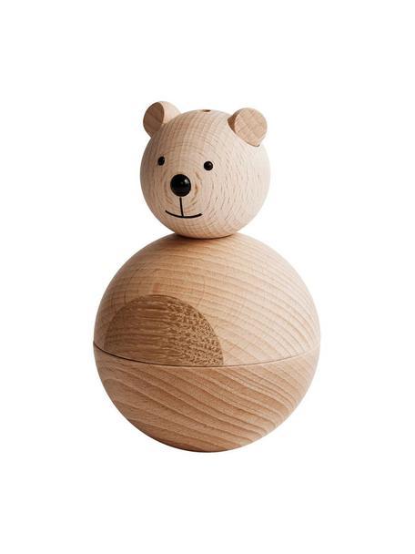 Decoratief object Bear, Ophanglus: leer, Houtkleurig, zwart, Ø 7 x H 12 cm