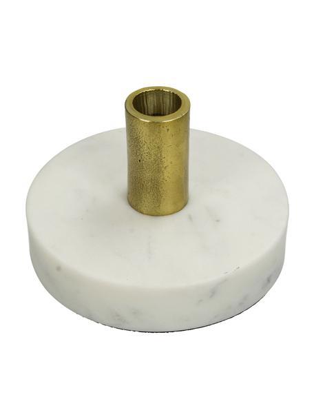 Marmor-Kerzenhalter Linda, Fuß: Marmor, Kerzenhalter: Aluminium, beschichtet, Weiß, Messingfarben, Ø 13 x H 8 cm