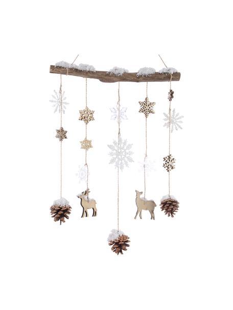 Dekoracja ścienna Deers, Tworzywo sztuczne, drewno naturalne, Brązowy, beżowy, biały, S 35 x W 75 cm
