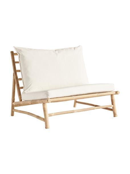 Sillón grande de bambú Bamslow, Estructura: madera de bambú, Funda: 100%algodón, Blanco, marrón, An 100 x F 87 cm