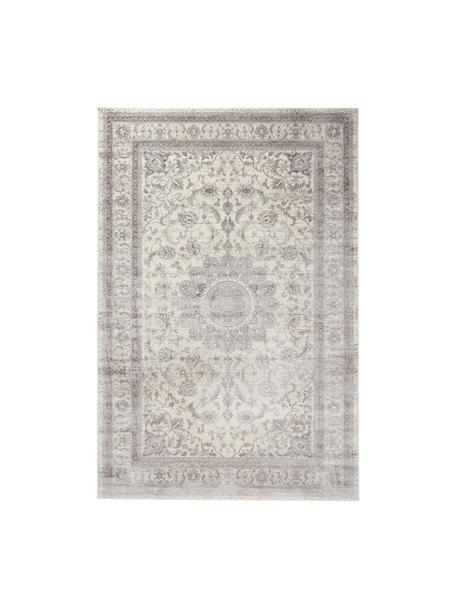 Alfombra Tortona, estilo vintage, 70%viscosa, 30%algodón, Gris plateado, color crema, An 140 x L 200 cm (Tamaño S)