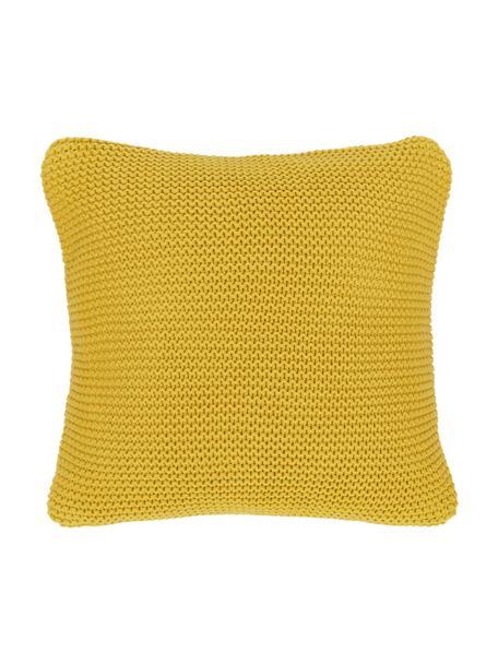 Federa arredo a maglia gialla Adalyn, 100% cotone, certificato GOTS, Giallo senape, Larg. 50 x Lung. 50 cm