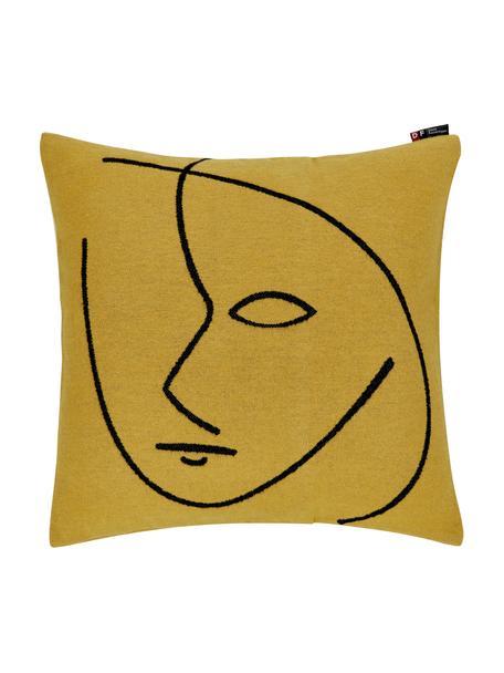 Baumwoll-Kissenhülle Nova Face mit abstraktem Print, Bezug: 85% Baumwolle, 8% Viskose, Gelb, Schwarz, 50 x 50 cm