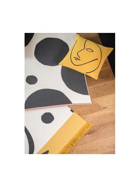 Kussenhoes Nova Face met abstracte print, Geel, zwart, 50 x 50 cm
