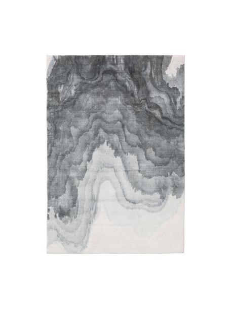Tappeto con motivo ondulato in tonalità grigie Mara, 100% poliestere, Tonalità grigie, Larg. 80 x Lung. 150 cm (taglia XS)