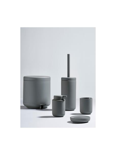 Dispenser sapone in gres Ume, Contenitore: gres rivestito con superf, Grigio opaco, Ø 8 x Alt. 13 cm