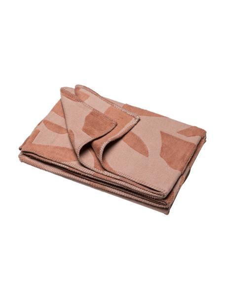 Flanelldecke Grafic in Terrakotta mit Muster und Ziernaht, 85% Baumwolle, 15% Polyacryl, Rosa, Terrakotta, 130 x 200 cm