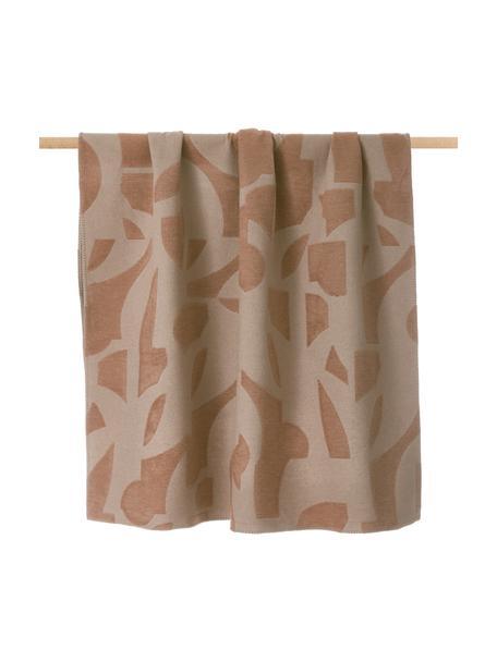 Koc z bawełny Grafic, 85% bawełna, 15% poliakryl, Blady różowy, terakota, S 130 x D 200 cm