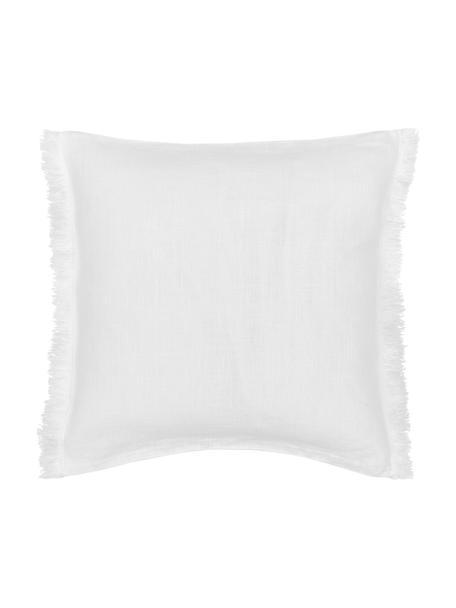 Poszewka na poduszkę z lnu z frędzlami Luana, 100% len, Kremowobiały, S 40 x D 40 cm