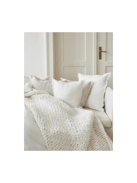 Federa arredo in lino bianco crema con frange Luana, 100% lino, Bianco crema, Larg. 40 x Lung. 40 cm