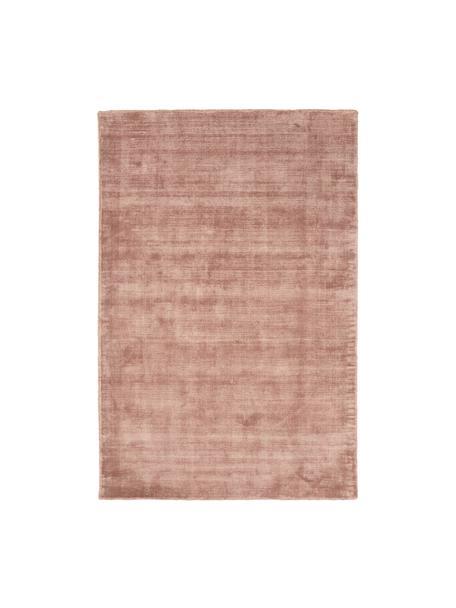 Handgeweven viscose vloerkleed Jane in terracottakleur, Bovenzijde: 100% viscose, Onderzijde: 100% katoen, Terracottakleurig, B 120 x L 180 cm (maat S)