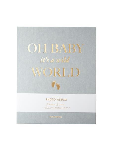 Album na zdjęcia Baby It's A Wild World, Szaroniebieski, odcienie złotego, S 26 x W 32 cm