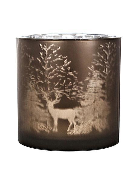 Świecznik Magic, Szkło, Brązowy, odcienie srebrnego, Ø 15 x W 15 cm