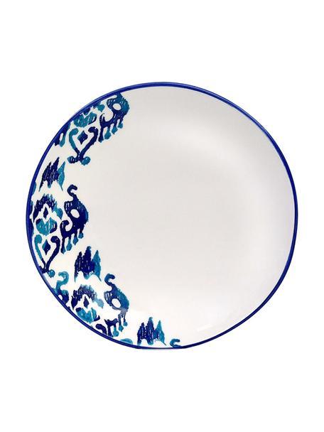 Handgemaakt soepbord Ikat, 6 stuks, Keramiek, Wit, blauw, Ø 23 cm