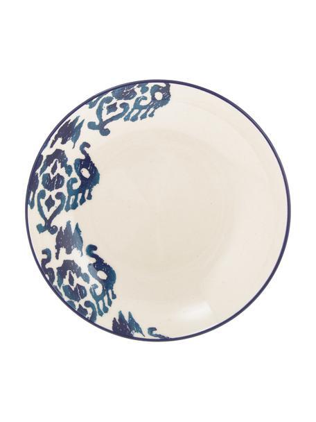 Handgemachte Suppenteller Ikat, 6 Stück, Keramik, Weiß, Blau, Ø 23 cm