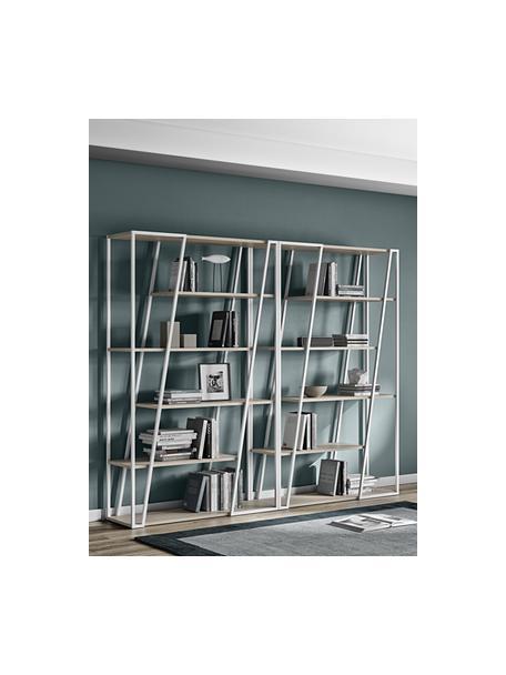 Wandrek Albi van hout en metaal, Frame: gecoat metaal, Wit, eikenhoutkleurig, 120 x 197 cm