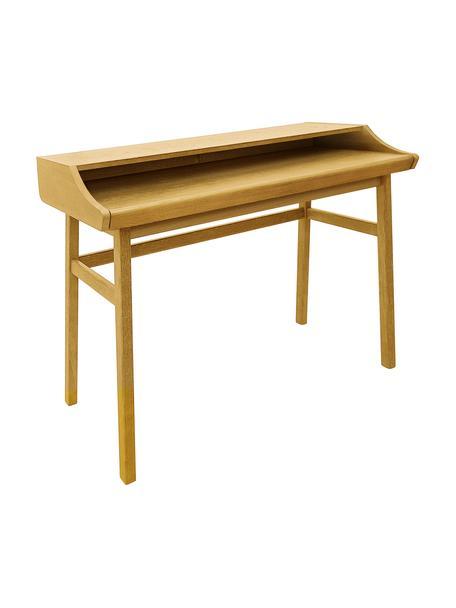 Schmaler Schreibtisch Carteret, Beine: Eichenholz, massiv, Tischplatte: Spanplatte mit Eichenholz, Hellbraun, 115 x 83 cm