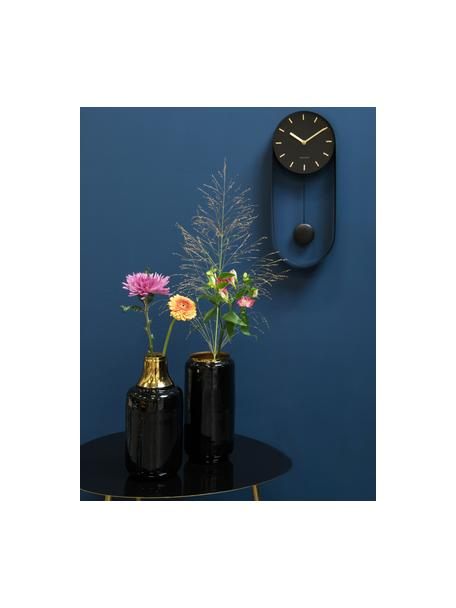 Wandklok Charm, Gecoat metaal, Zwart, goudkleurig, 20 x 50 cm