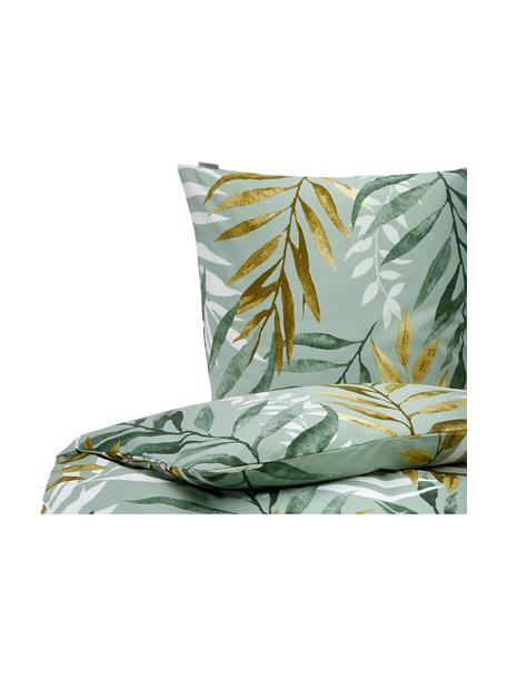 Baumwoll-Bettwäsche Earthy mit Blättermotiv, 100% Baumwolle  Fadendichte 144 TC, Standard Qualität  Bettwäsche aus Baumwolle fühlt sich auf der Haut angenehm weich an, nimmt Feuchtigkeit gut auf und eignet sich für Allergiker, Grün- und Brauntöne, Weiß, 135 x 200 cm + 1 Kissen 80 x 80 cm