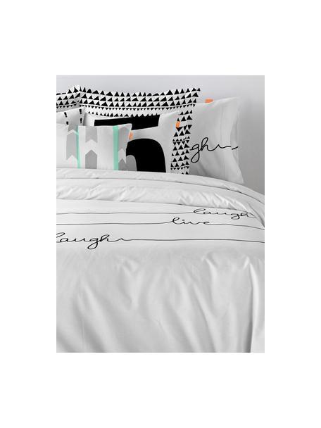 Funda nórdica Live, Algodón El algodón da una sensación agradable y suave en la piel, absorbe bien la humedad y es adecuado para personas alérgicas, Blanco, negro, Cama 90 cm (155 x 220 cm)