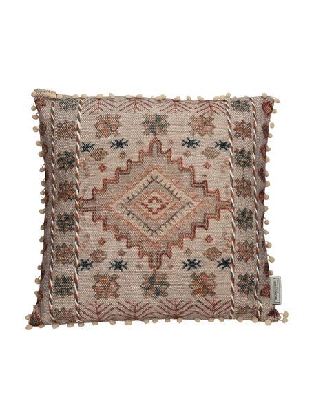 Cuscino boho con piccoli pompon e imbottitura Lunia, Rivestimento: 100% cotone, Beige, marrone, nero, Larg. 45 x Lung. 45 cm