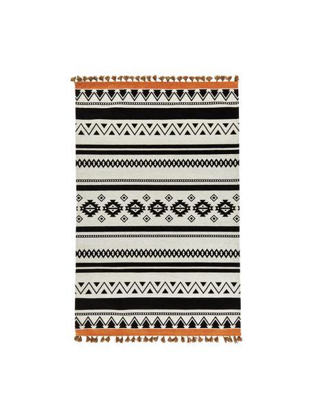 Kelimteppich Afar mit Ethnomuster und Quasten, Baumwolle, Polyester, Schwarz, B 120 x L 180 cm (Größe S)