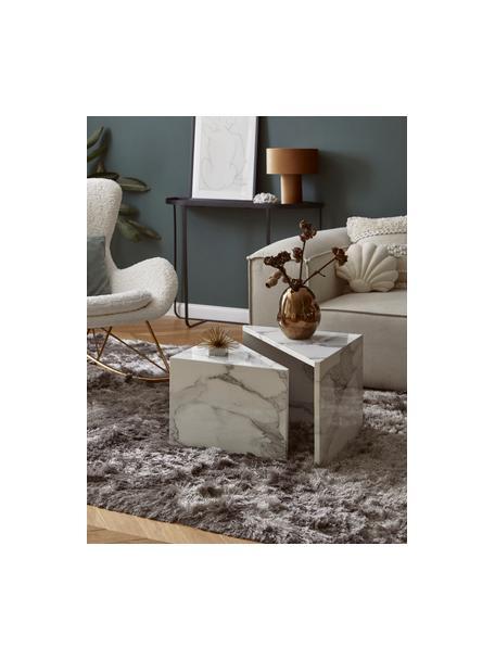 Couchtisch 2er-Set Vilma in Marmor-Optik, Mitteldichte Holzfaserplatte (MDF), mit lackbeschichtetem Papier in Marmoroptik überzogen, Weiss marmoriert, glänzend, Set mit verschiedenen Grössen