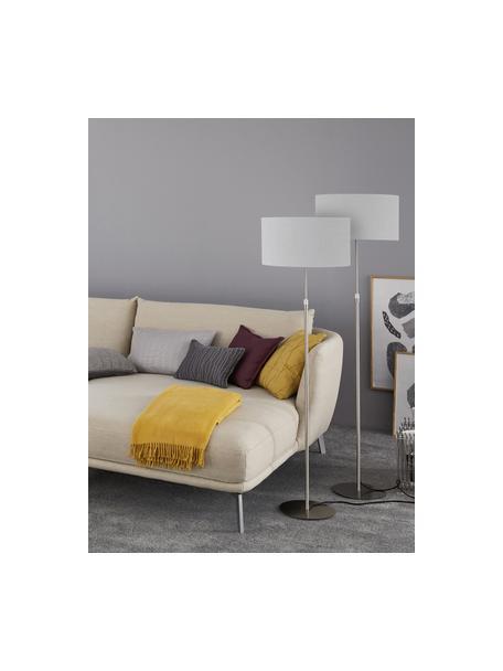 Klassische Stehlampe Pina in Hellgrau, Lampenschirm: Stoff (Chintz), Lampenfuß: Metall, Hellgrau, Silberfarben, Ø 40 x H 150 cm