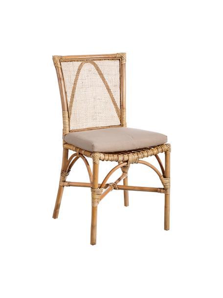Krzesło z rattanu Natural, Tapicerka: poliester, Brązowy, S 54 x G 46 cm