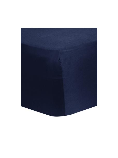 Prześcieradło z gumką z satyny bawełnianej Comfort, Ciemny niebieski, S 90 x D 200 cm