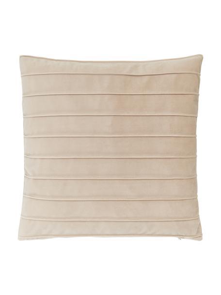 Poszewka na poduszkę z aksamitu Lola, Aksamit (100% poliester), Beżowy, S 40 x D 40 cm