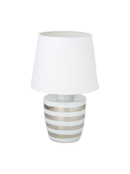 Keramische tafellamp Sylvia, Lampenkap: textiel, Lampvoet: keramiek, Wit, zilverkleurig, Ø 25 x H 39 cm